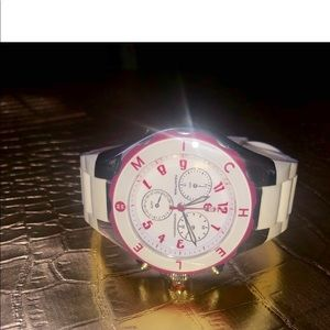 Michele White Jelly Watch with Pink detail